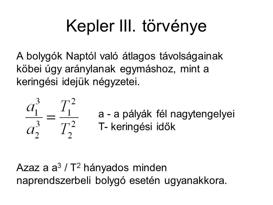 Kepler III. törvénye A bolygók Naptól való átlagos távolságainak köbei úgy aránylanak egymáshoz, mint a keringési idejük négyzetei.
