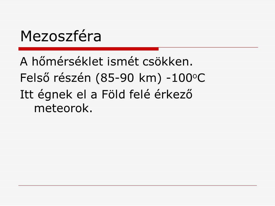 Mezoszféra A hőmérséklet ismét csökken. Felső részén (85-90 km) -100oC