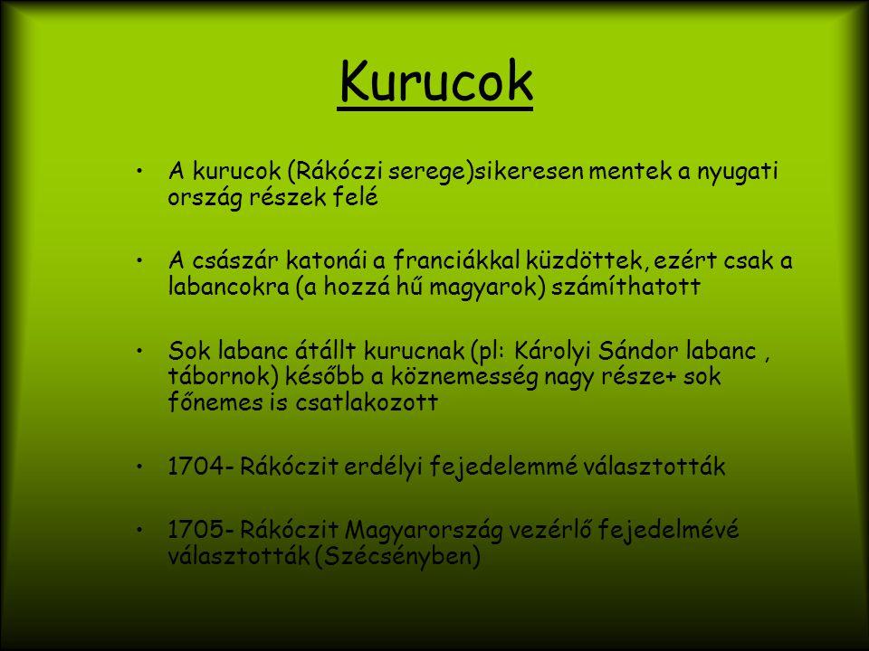 Kurucok A kurucok (Rákóczi serege)sikeresen mentek a nyugati ország részek felé.