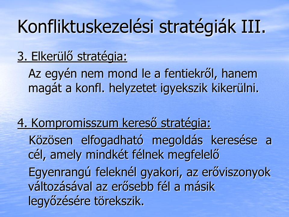 Konfliktuskezelési stratégiák III.