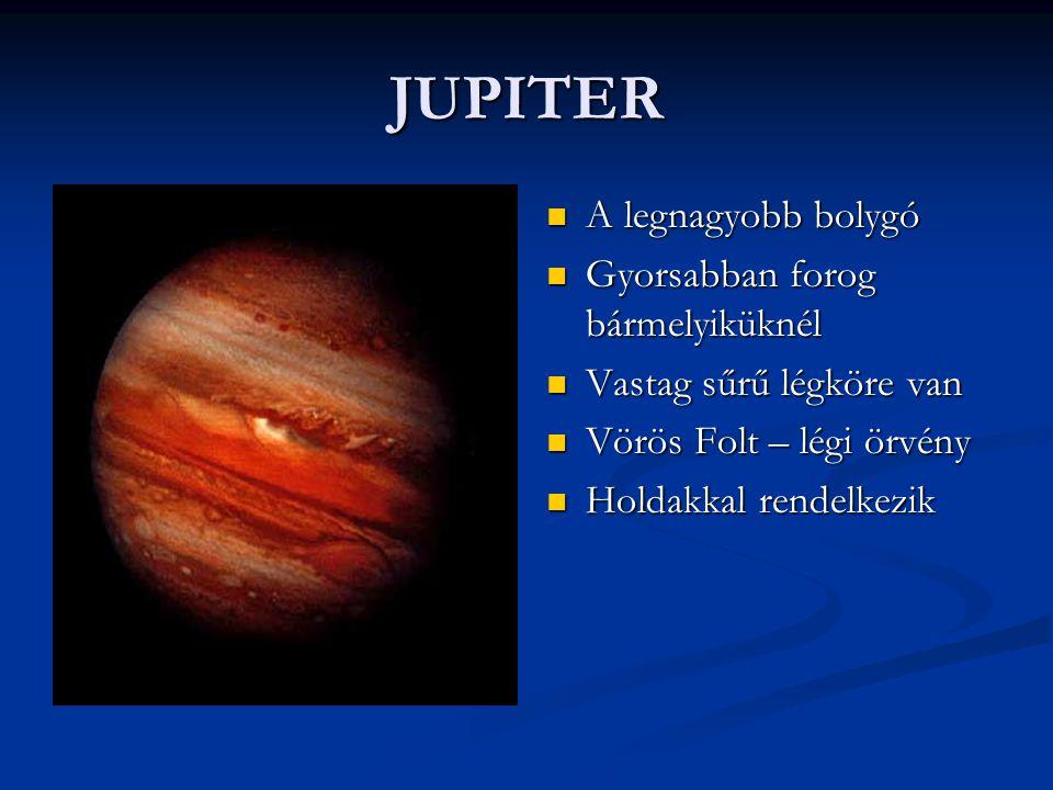 JUPITER A legnagyobb bolygó Gyorsabban forog bármelyiküknél