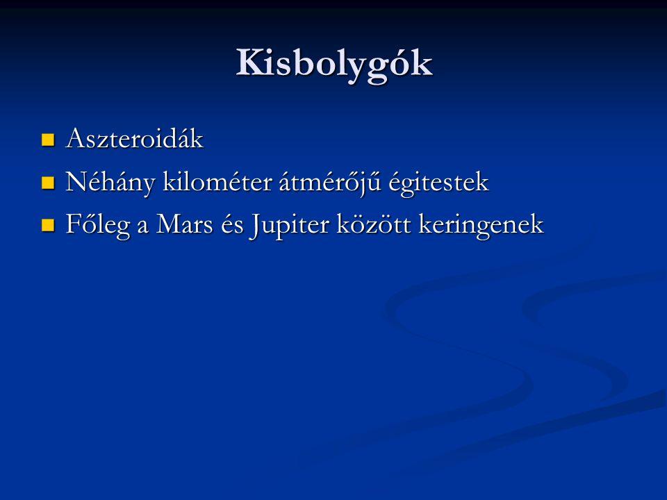 Kisbolygók Aszteroidák Néhány kilométer átmérőjű égitestek