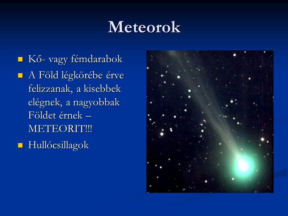 Meteorok Kő- vagy fémdarabok