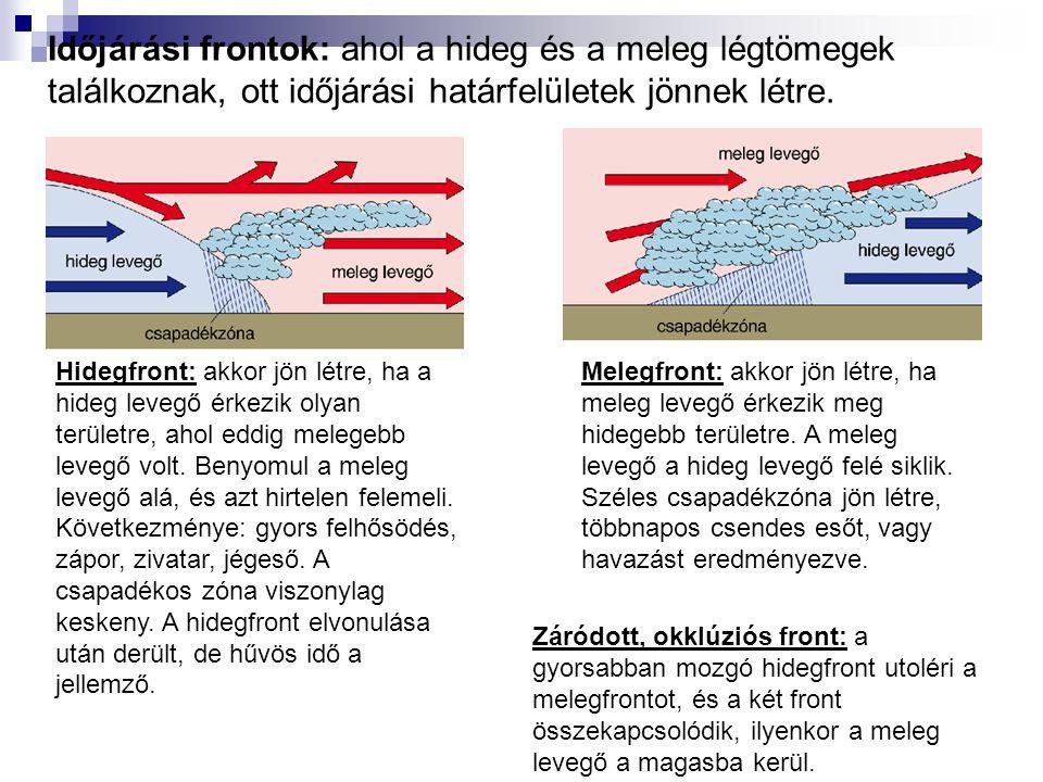 Időjárási frontok: ahol a hideg és a meleg légtömegek találkoznak, ott időjárási határfelületek jönnek létre.