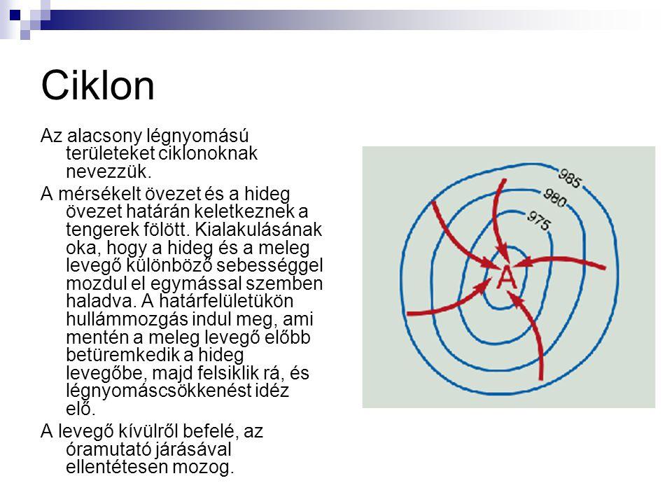 Ciklon Az alacsony légnyomású területeket ciklonoknak nevezzük.