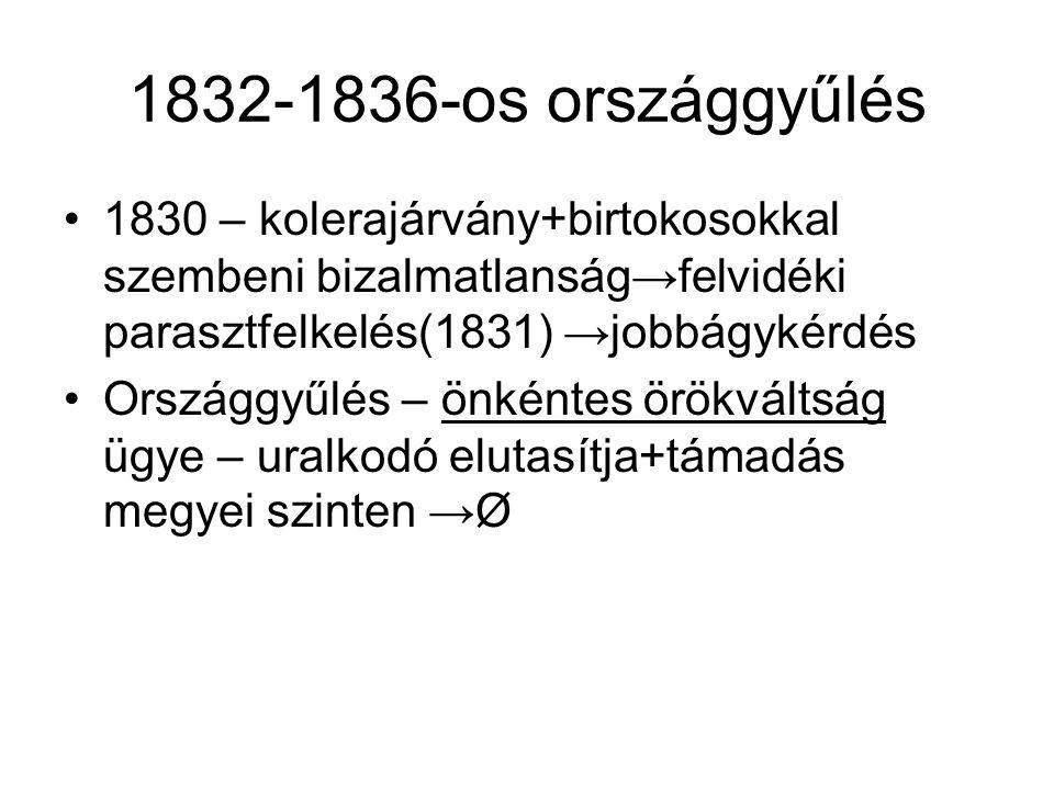 1832-1836-os országgyűlés 1830 – kolerajárvány+birtokosokkal szembeni bizalmatlanság→felvidéki parasztfelkelés(1831) →jobbágykérdés.