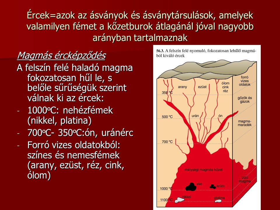 Ércek=azok az ásványok és ásványtársulások, amelyek valamilyen fémet a kőzetburok átlagánál jóval nagyobb arányban tartalmaznak