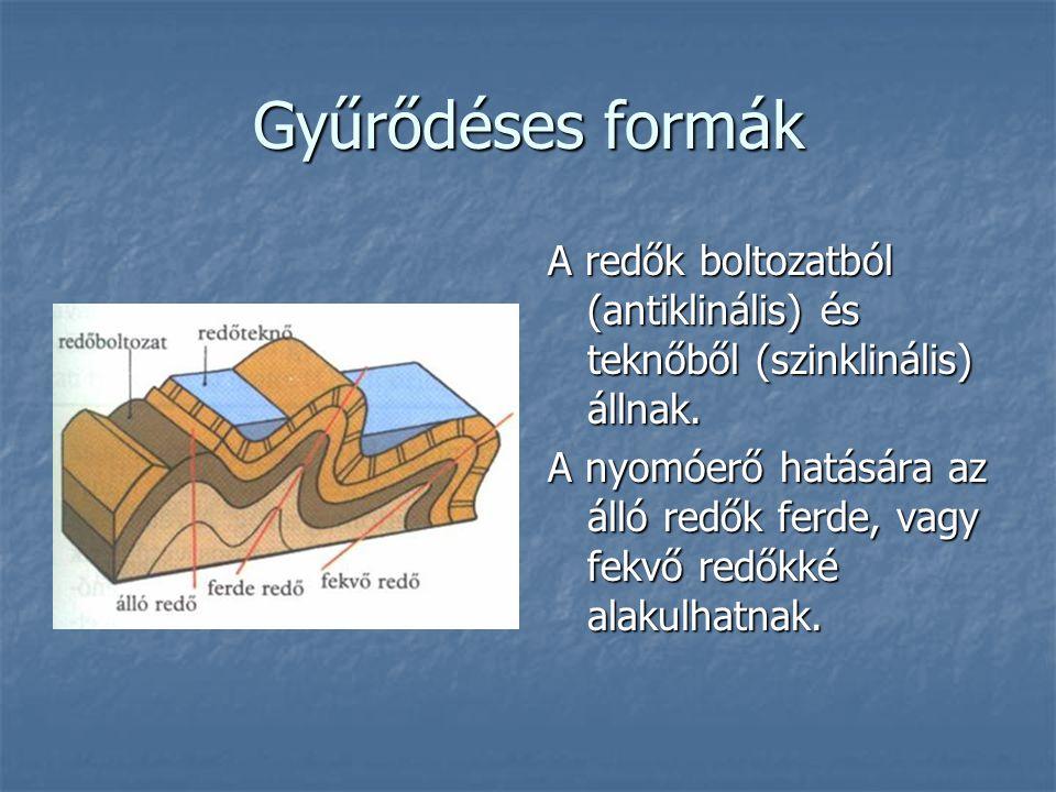 Gyűrődéses formák A redők boltozatból (antiklinális) és teknőből (szinklinális) állnak.