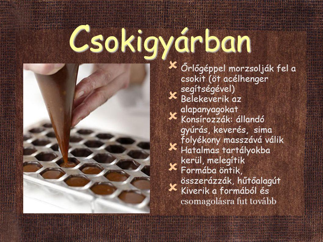Csokigyárban Őrlőgéppel morzsolják fel a csokit (öt acélhenger segítségével) Belekeverik az alapanyagokat.