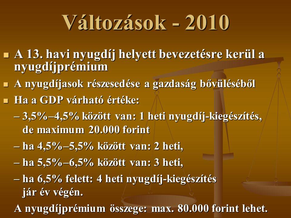Változások - 2010 A 13. havi nyugdíj helyett bevezetésre kerül a nyugdíjprémium. A nyugdíjasok részesedése a gazdaság bővüléséből.