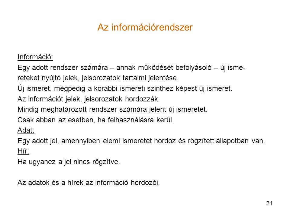 Az információrendszer
