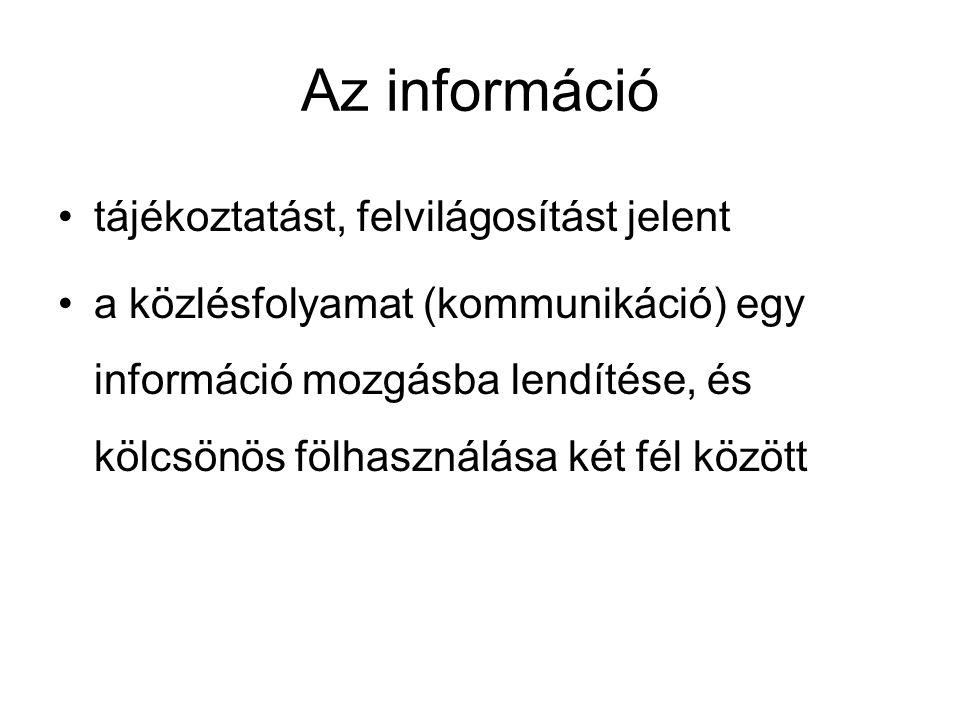 Az információ tájékoztatást, felvilágosítást jelent