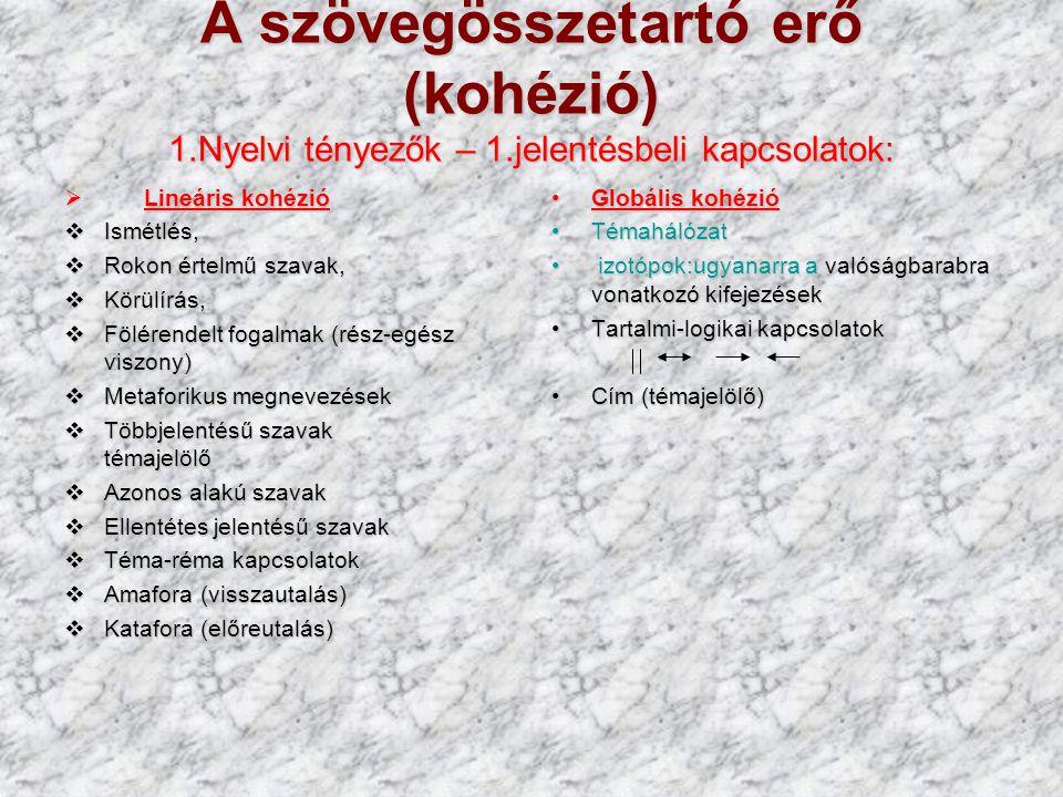 A szövegösszetartó erő (kohézió) 1. Nyelvi tényezők – 1