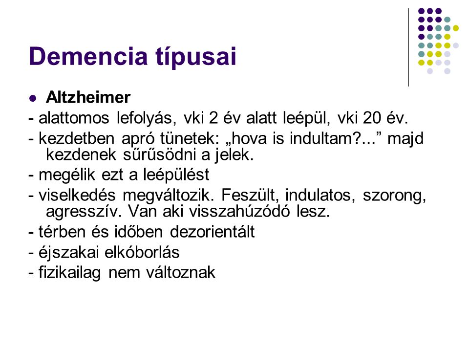 Demencia típusai Altzheimer