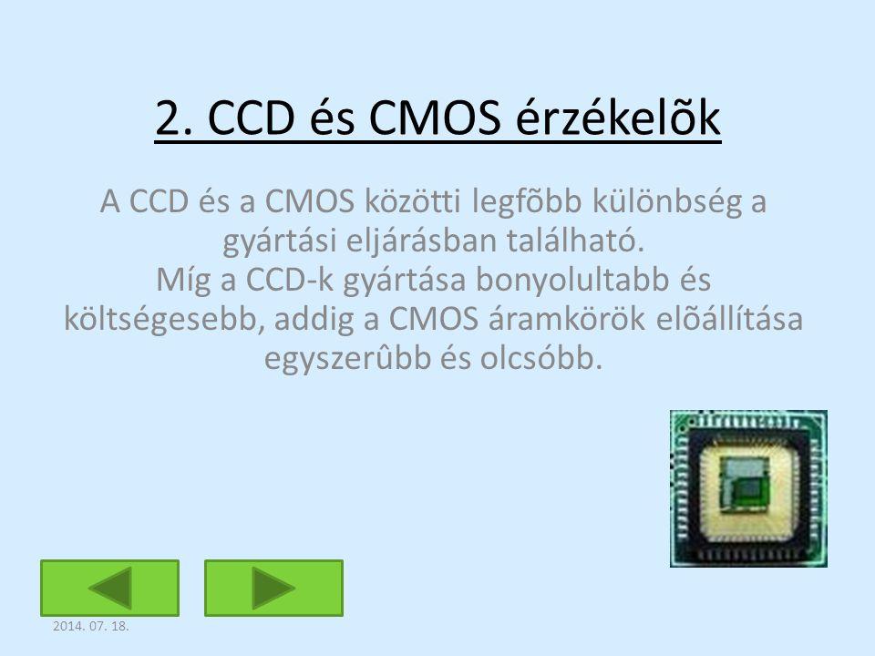 2. CCD és CMOS érzékelõk