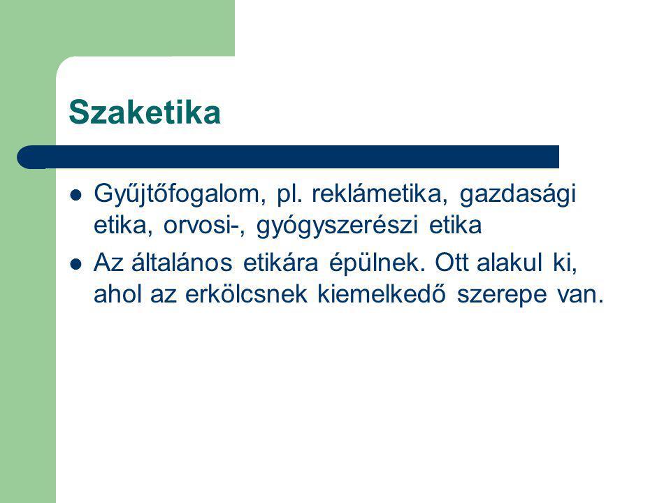 Szaketika Gyűjtőfogalom, pl. reklámetika, gazdasági etika, orvosi-, gyógyszerészi etika.