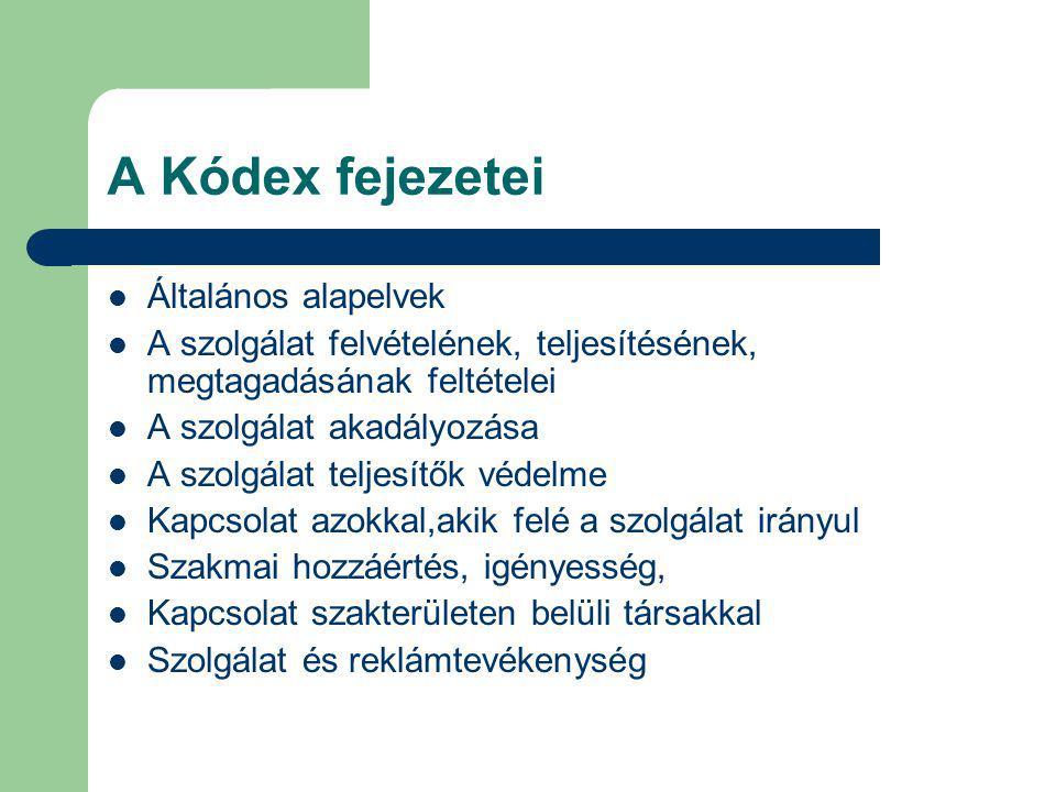 A Kódex fejezetei Általános alapelvek