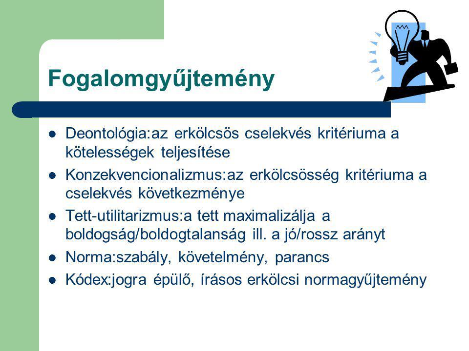 Fogalomgyűjtemény Deontológia:az erkölcsös cselekvés kritériuma a kötelességek teljesítése.