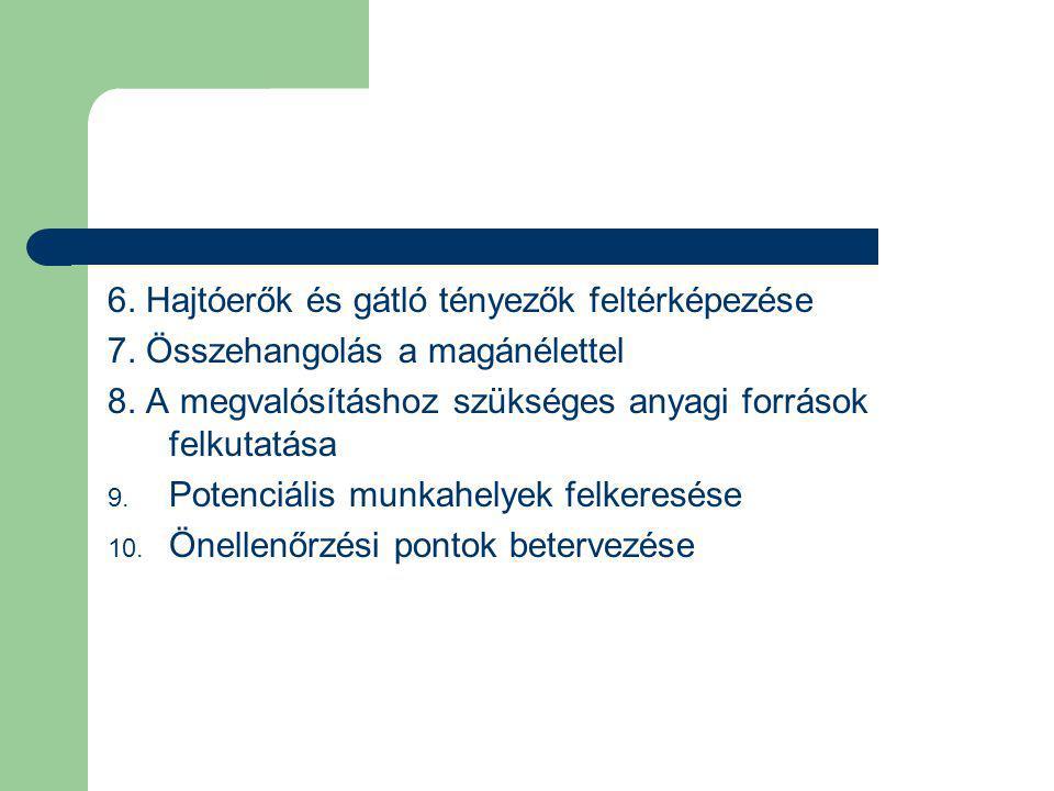 6. Hajtóerők és gátló tényezők feltérképezése