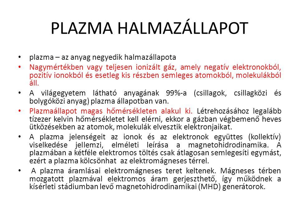 PLAZMA HALMAZÁLLAPOT plazma – az anyag negyedik halmazállapota