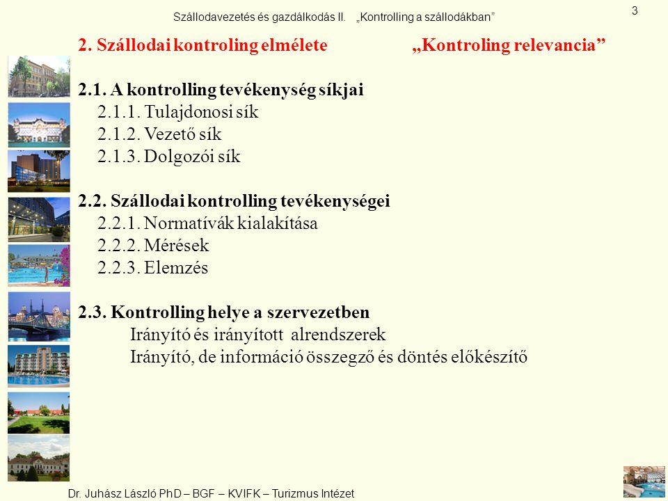 "2. Szállodai kontroling elmélete ""Kontroling relevancia"