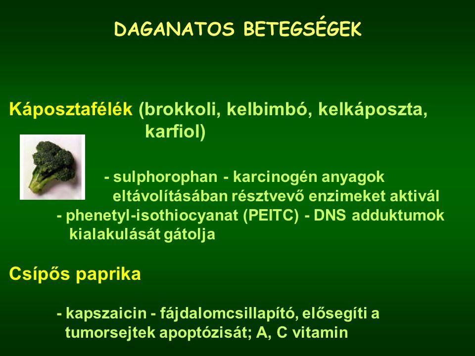 Káposztafélék (brokkoli, kelbimbó, kelkáposzta, karfiol)