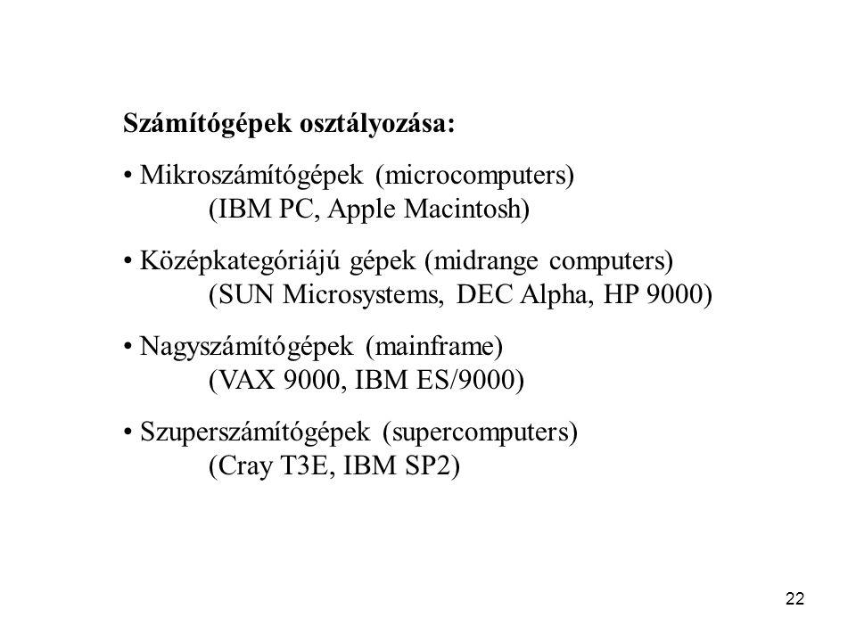 Számítógépek osztályozása: