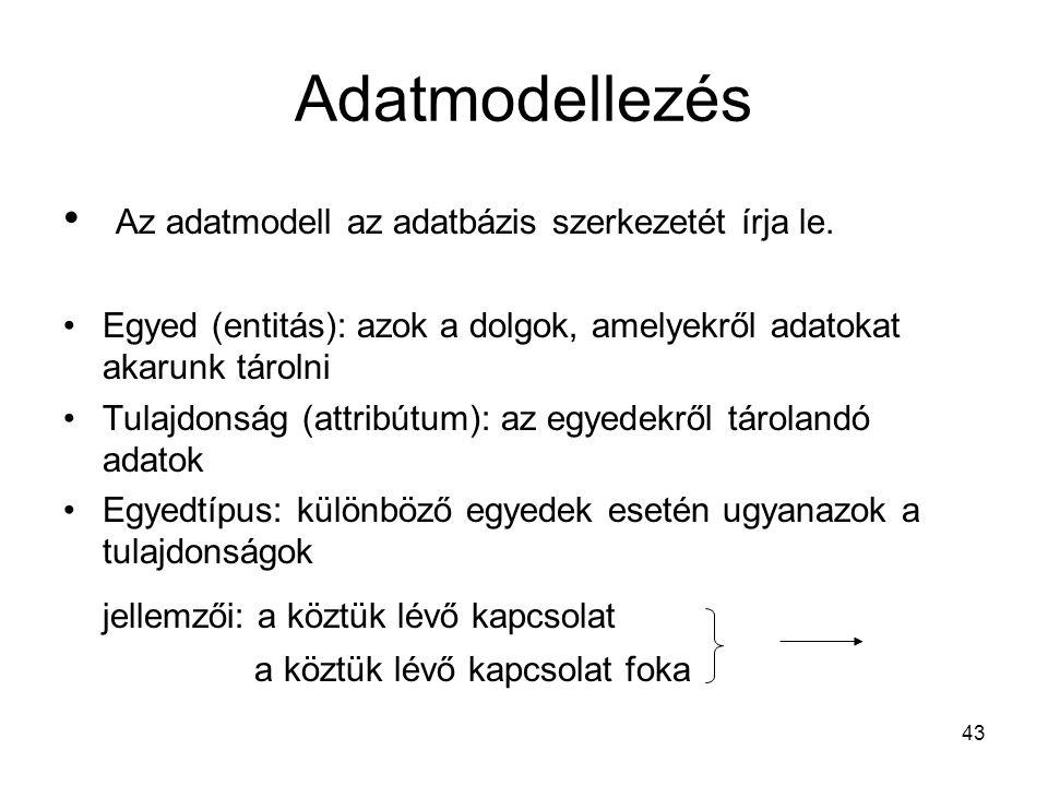 Adatmodellezés Az adatmodell az adatbázis szerkezetét írja le.
