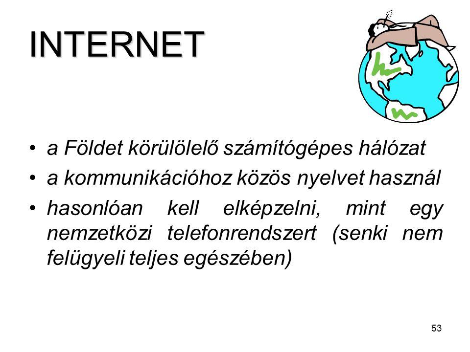 INTERNET a Földet körülölelő számítógépes hálózat