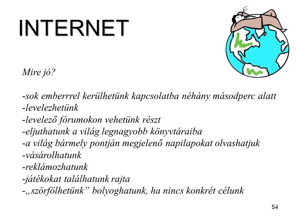 INTERNET Mire jó sok emberrrel kerülhetünk kapcsolatba néhány másodperc alatt. levelezhetünk. levelező fórumokon vehetünk részt.