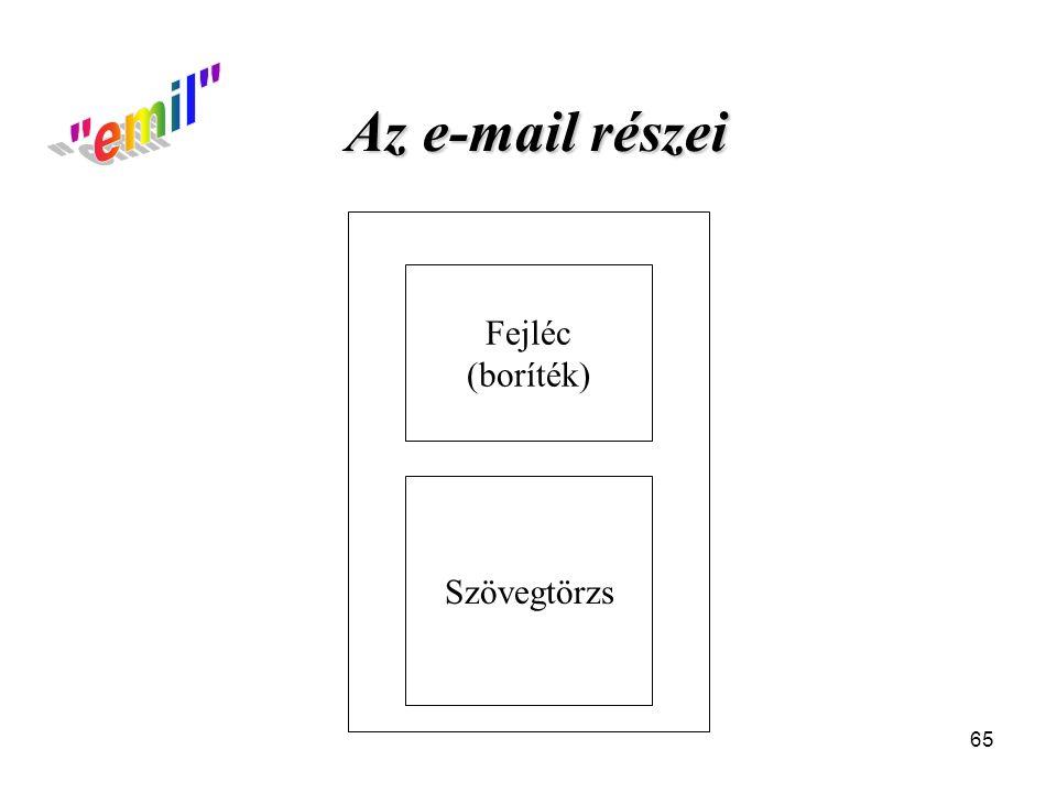 emil Az e-mail részei Fejléc (boríték) Szövegtörzs