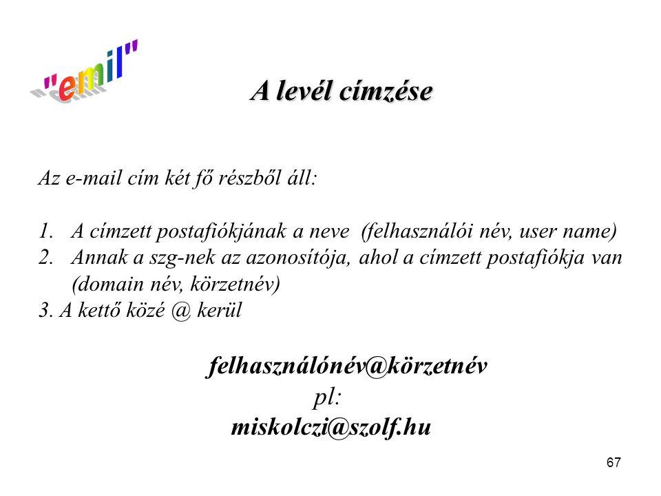 emil A levél címzése pl: miskolczi@szolf.hu