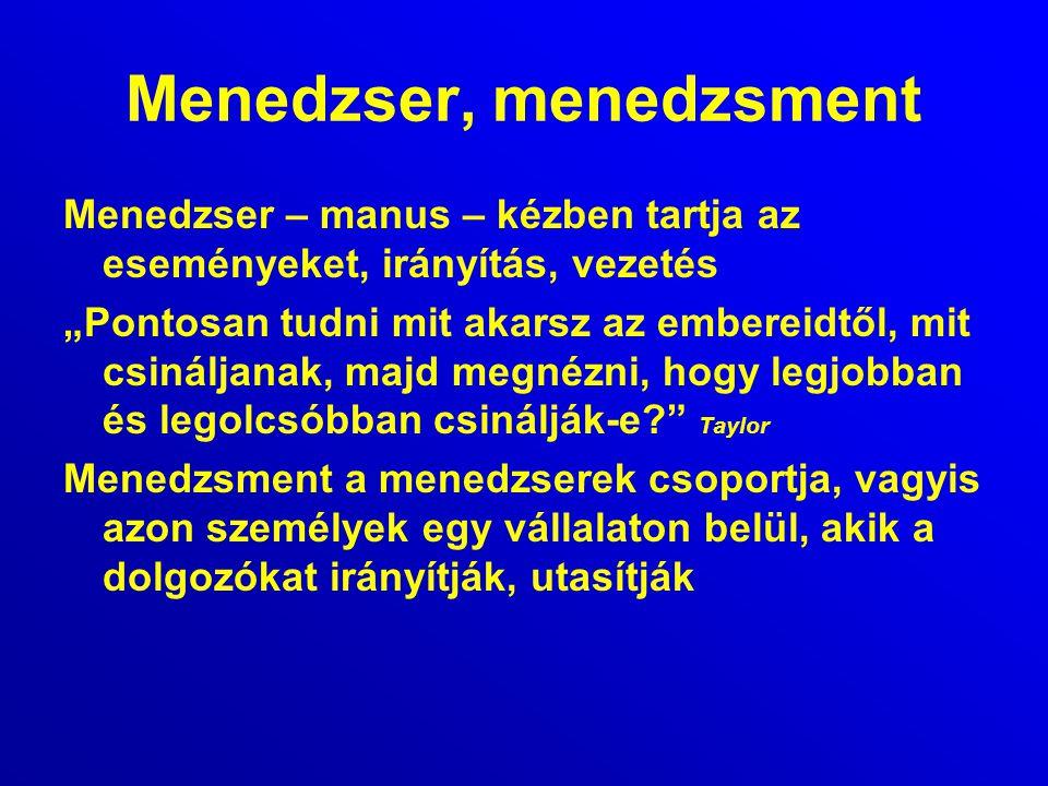Menedzser, menedzsment