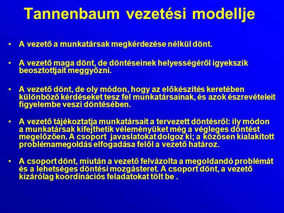 Tannenbaum vezetési modellje