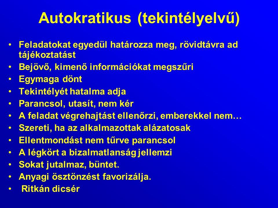 Autokratikus (tekintélyelvű)