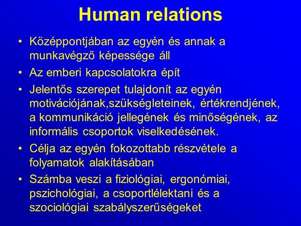 Human relations Középpontjában az egyén és annak a munkavégző képessége áll. Az emberi kapcsolatokra épít.