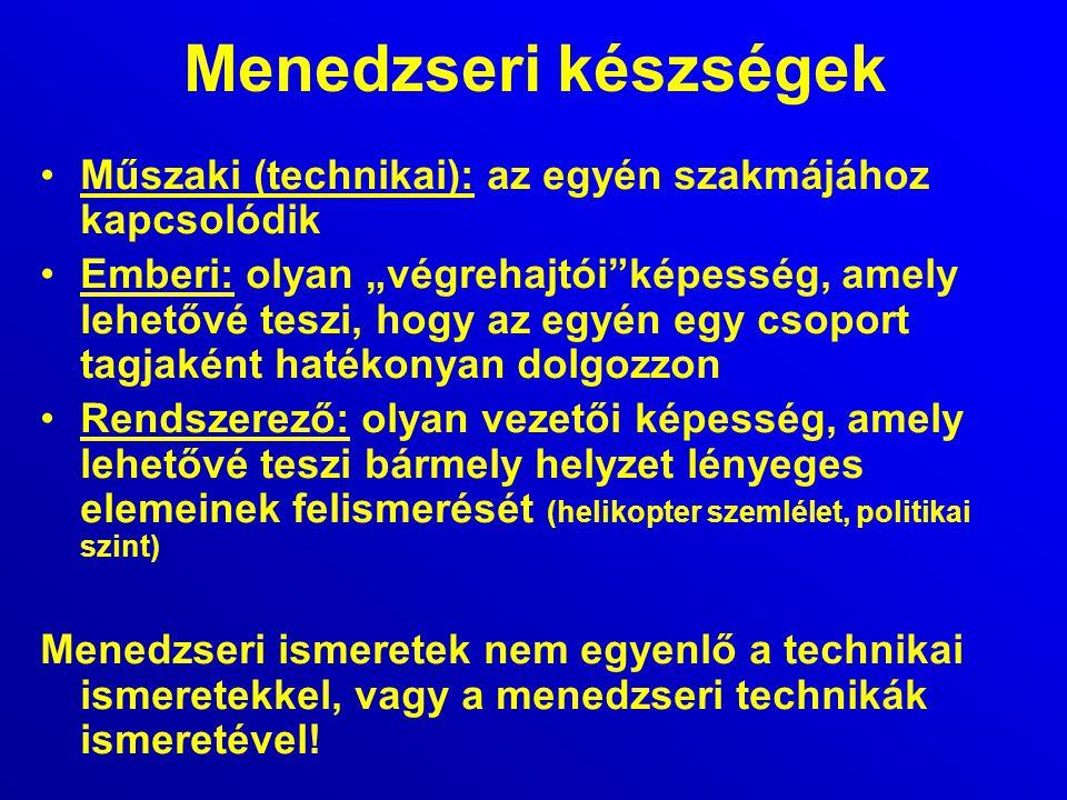 Menedzseri készségek Műszaki (technikai): az egyén szakmájához kapcsolódik.