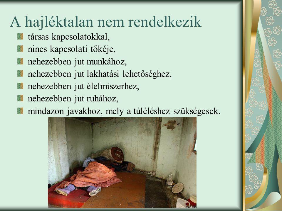 A hajléktalan nem rendelkezik