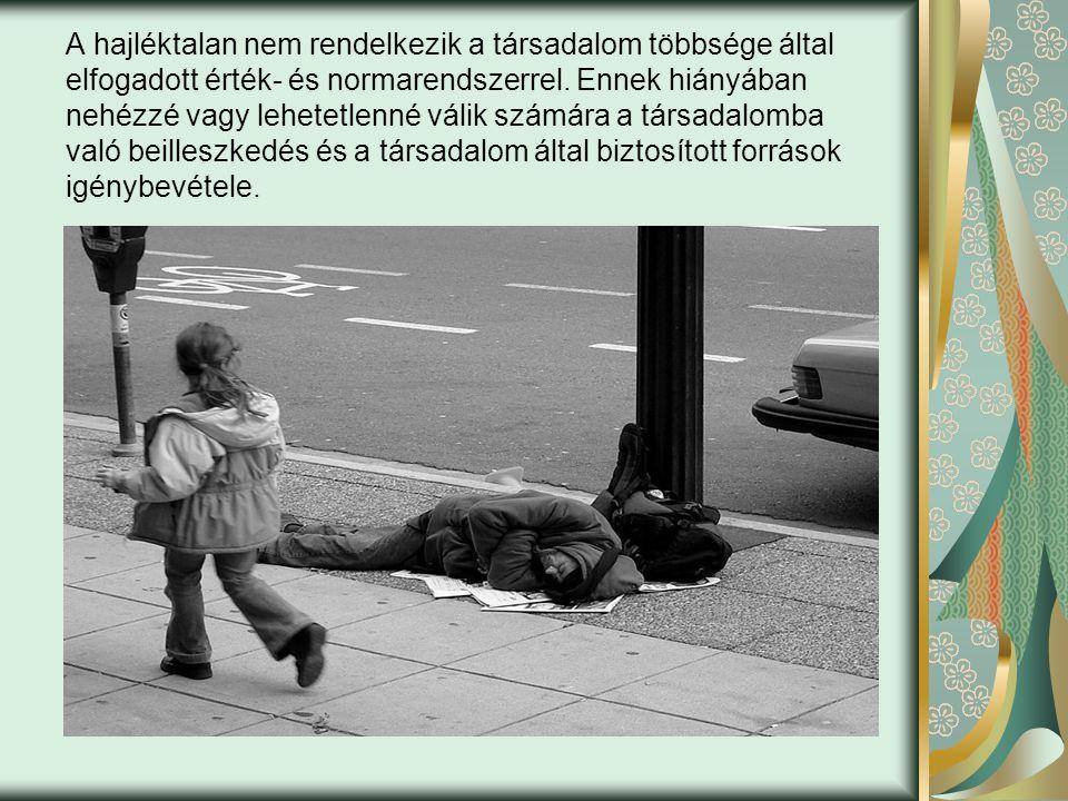 A hajléktalan nem rendelkezik a társadalom többsége által elfogadott érték- és normarendszerrel.