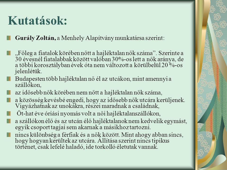 Kutatások: Gurály Zoltán, a Menhely Alapítvány munkatársa szerint: