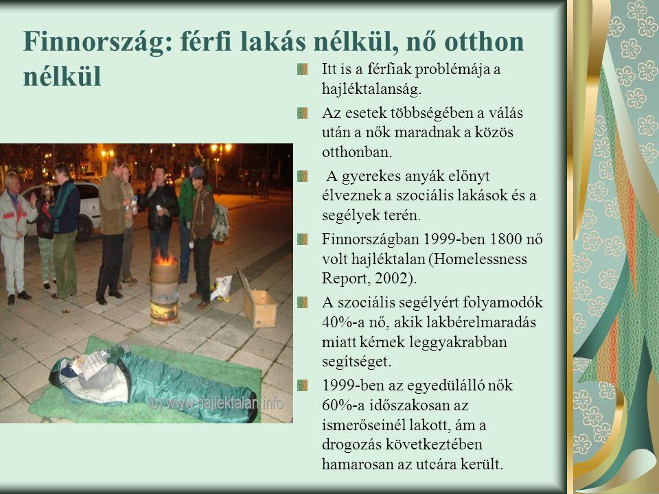 Finnország: férfi lakás nélkül, nő otthon nélkül
