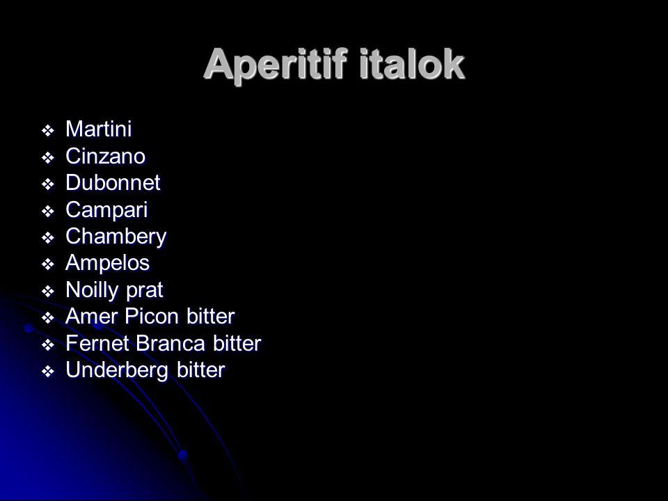 Aperitif italok Martini Cinzano Dubonnet Campari Chambery Ampelos