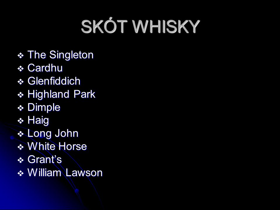 SKÓT WHISKY The Singleton Cardhu Glenfiddich Highland Park Dimple Haig