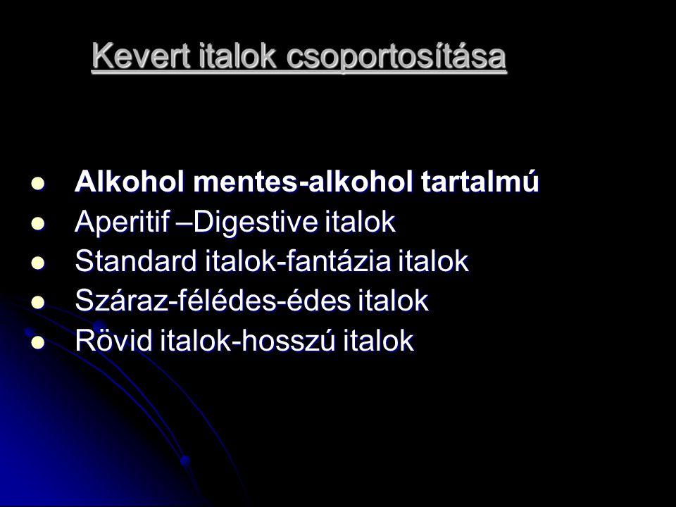 Kevert italok csoportosítása