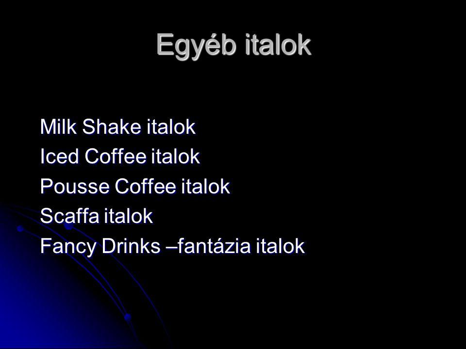 Egyéb italok Milk Shake italok Iced Coffee italok Pousse Coffee italok