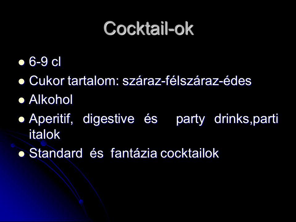 Cocktail-ok 6-9 cl Cukor tartalom: száraz-félszáraz-édes Alkohol