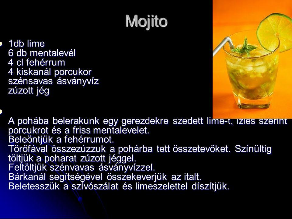 Mojito 1db lime 6 db mentalevél 4 cl fehérrum 4 kiskanál porcukor szénsavas ásványvíz zúzott jég.