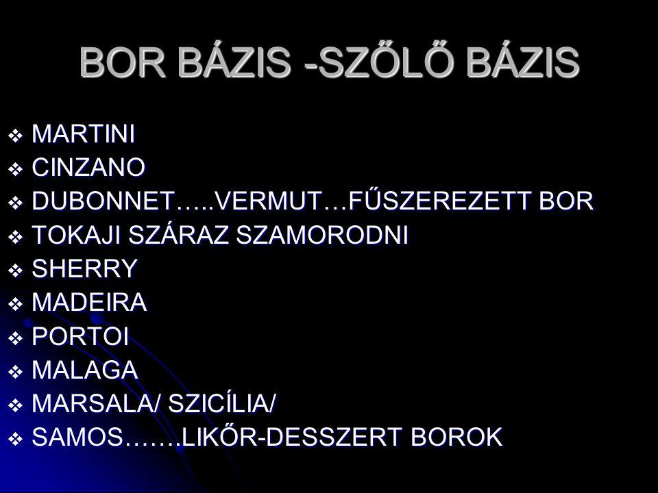 BOR BÁZIS -SZŐLŐ BÁZIS MARTINI CINZANO