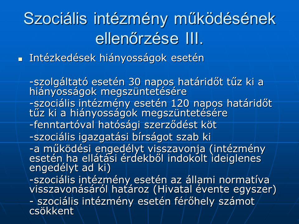 Szociális intézmény működésének ellenőrzése III.