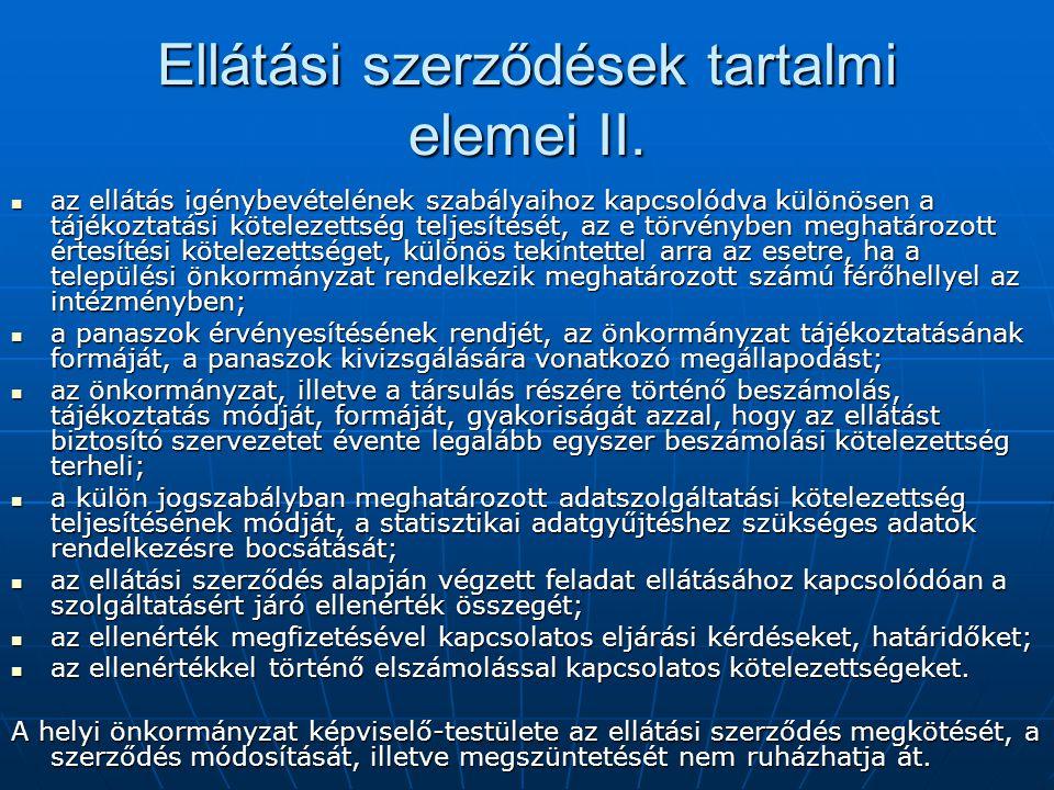 Ellátási szerződések tartalmi elemei II.